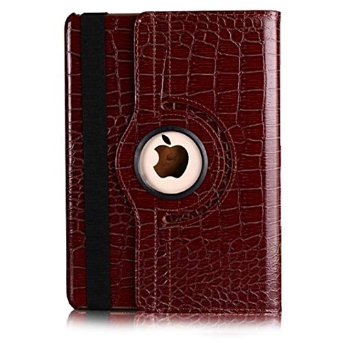 QiuKui Tab Cover For Ipad 10.2 2019, 360 Rotating Crocodile Leather Case Smart Cover Case For IPad Air 1/2 9.7 2018 2017 (Color : Brown, Size : 10.2 2019)