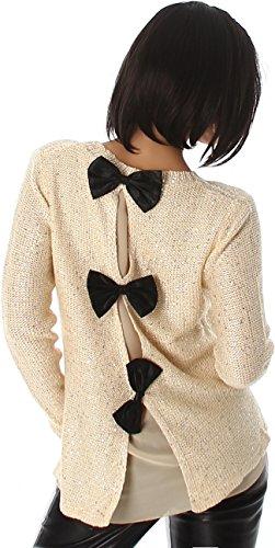 Jela London Damen Pailletten Pullover Schleife Glitzer Glanz Sweater Rücken-Schleife Chiffon-Netz, Beige 34 36 38