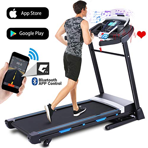 ANCHEER 3.25HP Automatic Incline Treadmill, Folding Treadmill with Bluetooth Speaker, Walking Running Machine with APP Control for Home Gym Treadmills