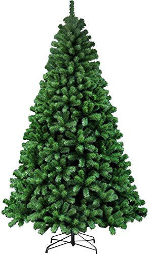 Seekavan Artificial Christmas Tree Green White with lightly sprayed White tips and Pine Cone(5ft,6ft,7ft,8ft)