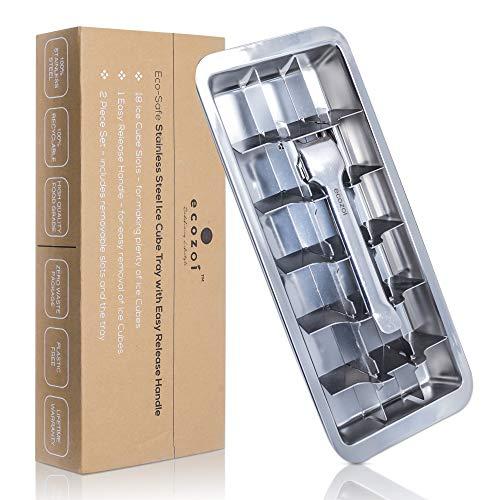 ecozoi Eiswürfelschalen aus Edelstahl mit leicht zu lösendem Griff,18 Eiswürfelschlitze, herausnehmbare Schlitze für einfache Eiswürfelentnahme und Reinigung umweltfreundlich