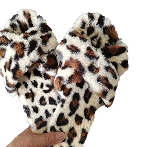XFBH Zapatillas mullidas de leopardo para mujer, para invierno, cálidas, con diseño de cruz, para mujer, tamaño grande, 36EU-43EU, color: leopardo