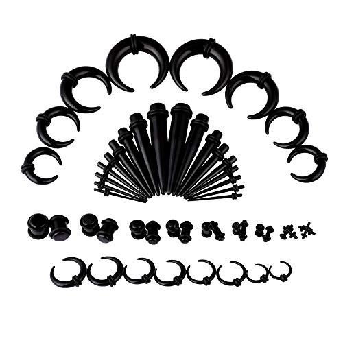 14G-00G 52pcs Acrylic Black Ear Gauges Stretching Kit Crescent Shaped Taper Plug Set
