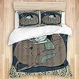Juego de ropa de cama, funda de edredón, diseño de animales dormidos con dibujos animados, diseño de luna y noche sonriente amiga, microfibra 260 x 220 con 2 fundas de almohada de 80 x 50, Super King