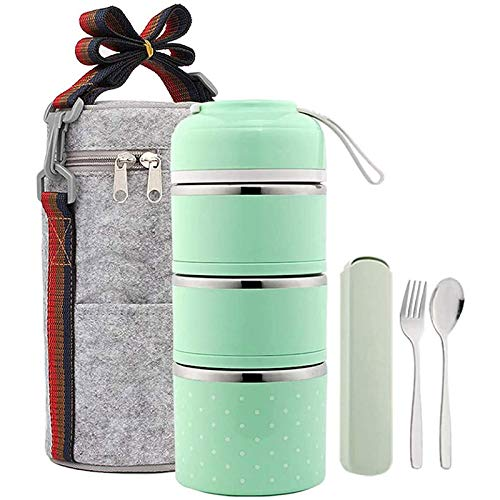 WANXJM Food Thermos Bento Lunch Box 3 Couches en Acier Inoxydable empilable Thermos Hot Food avec Sac à Lunch isolé et ustensiles Portables,Vert