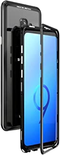 Samsung galaxy S9 Plus Case Metal Magnetic Adsorption case for samsung galaxy S9 Plus case Cover Coque Luxury Bumper with Clear tempered glass back for samsung galaxy S9 Plus Phone case (Black Clear)