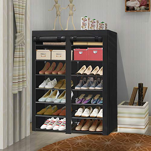 ERONE Shoe Rack Storage Organizer , 28 Pairs Portable Double Row with Nonwoven Fabric Cover Shoe Rack Cabinet for Closet (Black)