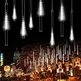 OMGAI 30cm 8 Tubes Meteor Shower Rain Lights - 144 LED Drop/Icicle Snow Falling Raindrop Cascading Lights for Wedding Party Christmas - White
