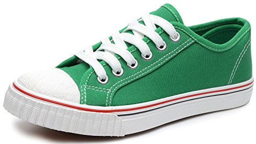 Odema Women Lace Up Canvas Shoes Fashion Sneakers Classic Casual Preppy Style Flat Shoes Green