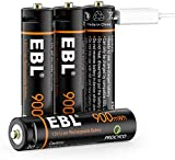 EBL 1.5V AAA Rechargeable Batteries, 900mWh USB Lithium Triple A Batteries with 4 in 1 USB Cable 4 Pack