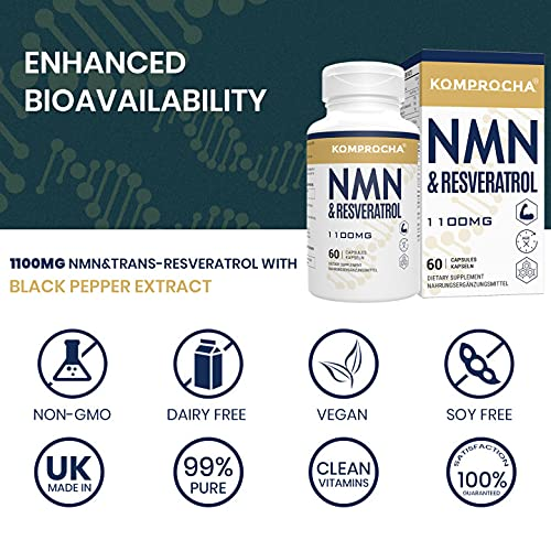 51nd8unkLDS. SL500  - NMN + Trans-Resveratrol 99% Purity+ Black Pepper 1100mg, for Max Absorption, Powerful Antioxidant & Anti-Aging Supplements for Heart, Immune & Skin Health (600 Capsules (Pack of 10))