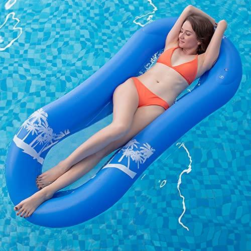 Myir Pool Hängematte mit Mesh, Aufblasbare Wasserhängematte luftmatratzen Liege Wasser Bett Floating Lounge Stuhl Schwimmbad Aufblasbarer Spielzeug für Erwachsene (Wasserhängematte Blau)