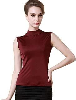 Forever Angel Women's 100% Silk Jersey Sleeveless Mock Neck Shirt Tank Top