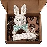 GLASSNOBLE Cadena para chupete de 3 unidades, diseño de conejo de ganchillo, juguetes de comodidad para bebé, regalo de ducha