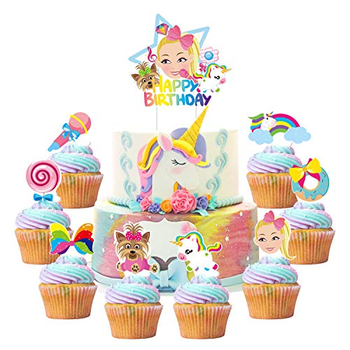 PANTIDE Set of 49 JOJO Cake Toppers Cupcake Toppers - HAPPY BIRTHDAY JOJO Cake Topper, Rainbow Bow Unicorn Puppy Lollipop Donut Microphone Cupcake Toppers – JOJO Birthday Party Decorations for Girls