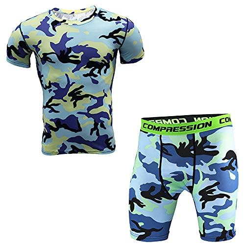 Conjunto Camuflaje Hombre Verano Cuello Redondo Manga Corta Shirt/Pantalones Cortos Entrenamiento Militar Físico Conjunto Deportivo Hombre Ajustado Conjunto Funcional Hombre