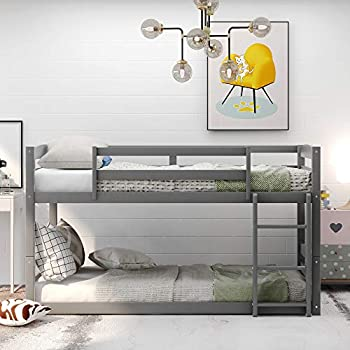 Bunk Beds Twin Over Twin Size Wood Bunk Beds Low Profile for Kids No Box Spring Needed