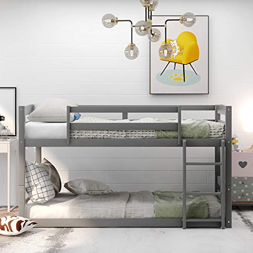 Bunk Beds Twin Over Twin Size, Wood Bunk Beds Low Profile for Kids, No Box Spring Needed