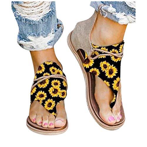 Sandales plates pour femme avec séparateurs d'orteils ouverts - Imprimé tournesol - Confortables - Pour la plage - Sandales romaines - Avec fermeture éclair - Pour les loisirs et l'été