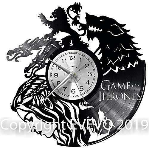 WoD Game of Thrones Wanduhr Vinyl Schallplatte Retro-Uhr groß Uhren Style Raum Home Dekorationen Tolles Geschenk Uhr