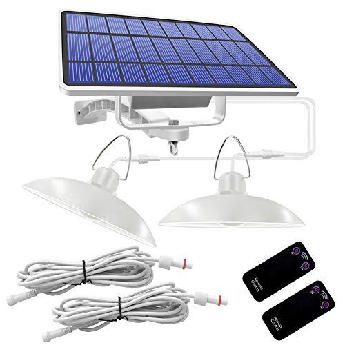DOMIRE Solarleuchten Solar-LED-Doppelkopf-Anhänger-Licht Solar-Kronleuchter wasserdichte Fernbedienung für Haus-Garten-Wandleuchte