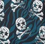 Swafing Theo Jersey Baumwolle, Totenköpfe, Skulls, Petrol