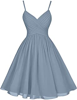 JAEDEN Bridesmaid Dresses Short Homecoming Dress with Pocket Chiffon Party Dress Spaghetti Straps Homecoming Dress