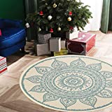 Mandala Round Rug,4ft Bohemian Cotton Throw Area Rug with Tassels Soft Vintage Look Washable Blue and Cream Carpet Indoor Teepee Tent Door Mat for Toddler Room Bedroom Living Room