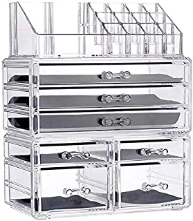 New Clear Acrylic Makeup Organizer Large Capacity Storage Box Lipstick Holder Drawers Make Up Organizer Cosmetic Tool Brush Case
