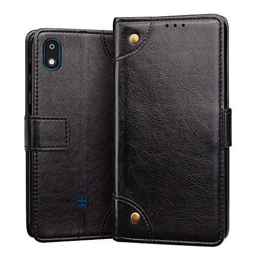 RIFFUE Hülle für LG K20 2019 Hülle, Handyhülle LG K20 2019 Premium Tasche Leder Künstliche Brieftasche Klapphülle Weiche mit Kartenfach Standfunktion 5,45 Zoll - Schwarz