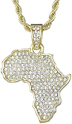 NC110 Necklace Africa Map Necklace Iced Out Chain Rhinestone Crystal Gold Color Pendant and Chain Necklace for Men/Women Gift Jewelry Gift