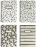 Emartbuy Cuaderno De Ejercicios En Espiral De Tapa Dura Doodle Negro Y Dorado Diario Cuaderno Bloc Diario De Escritura Forrado Tamaño B5 80 Hojas (160 Páginas) - Set de 4