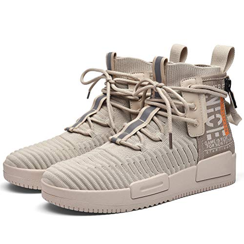 XIDISO Mens Fashion Sneaker High Top Shoes Walking Shoe for Ourdoor Indoor Casual Sports Athletic Beige