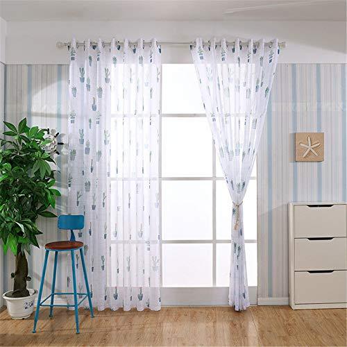 FACWAWF Home Chiffon Printed Gauze Curtain Living Room Bedroom Chiffon Sunshade French Window Screen Curtain 200x270cm(2pcs)