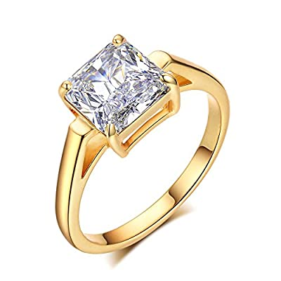LicLiz Cubic Zirconia Solitaire Engagement Ring Princess Cut Cathedral Ring for Women 2.25 Karats