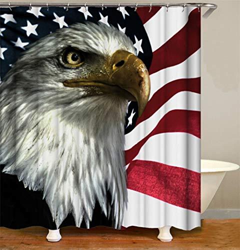 Duschvorhang 3D Print Hd Shower Curtain Polyester Stoff Waschbarer Wasserdichter Vorhang Sharp Eagle Muster Mit Gewicht Magnet Unten Verdicken Duschvorhänge Überlänge Umweltfre&lich A5278-180x200cm