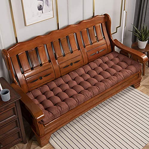 DIELUNY Cojín de banco de relleno para jardín, patio, interior y exterior, cojines de silla mecedora de papasán, gruesos, acolchados de color café, 43 x 150 cm