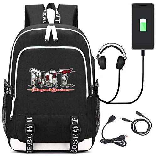 Anime Attack on Titan Daypack School Bag Cosplay Mochila con Puerto de Carga USB (Negro1)