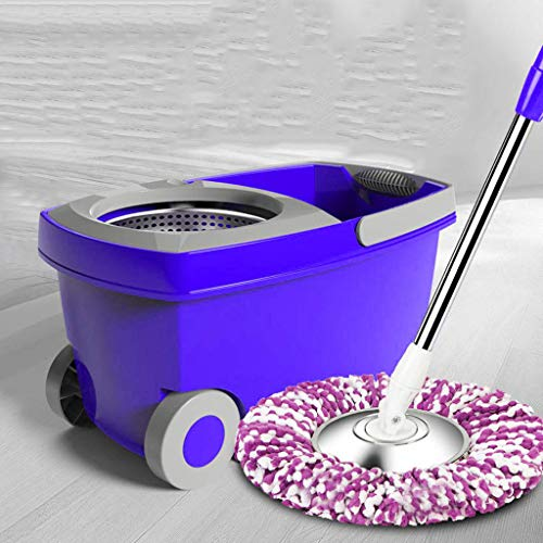 OKBOP Microfiber Spin Mop and Bucket Set with Wringer, Combo Mops Cart Kit on Wheels for Floor Cleaning Tools, 360 Swivel Mop System (Purple)