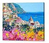 Positano Costiera Amalfitana, Stampa Artistica su Tela, Quadro Moderno, Paesaggio Marino (75x60 cm)
