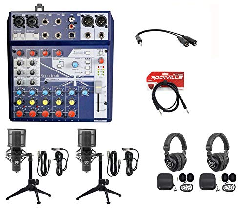 2) Person Podcasting Podcast Bundle w/Soundcraft Mixer+Headphones+Pro Mic+Tripod