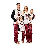 PopReal Family Pajamas Matching Sets Matching Christmas PJs with Deer Printed Plaid Pants Sleepwear Red
