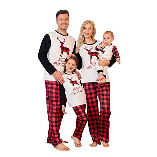 PopReal Family Pajamas Matching Sets Matching Christmas PJs with Deer Printed Plaid Pants Sleepwear