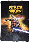 Jay Franco Star Wars Clone Wars Fierce Blanket - Measures 62 x 90 inches, Kids Bedding Features Ahsoka Tano - Fade Resistant Super Soft Fleece (Official Star Wars Product)