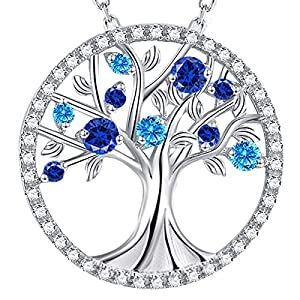 September Birthstone Blue Sapphire Jewelry for Women Birthday Gifts Tree of Life Necklace Earrings Sterling Silver Blue Topaz Jewelry