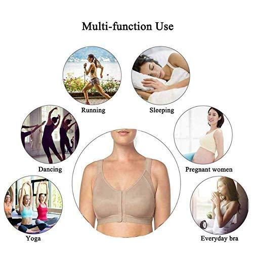 Qishun Women's Back Support Posture Corrector Wireless Bra Adjustable Front Closure,Complete Comfort Sport Yoga Sleep Bra no Padded (White+Skin Color, X-Large)