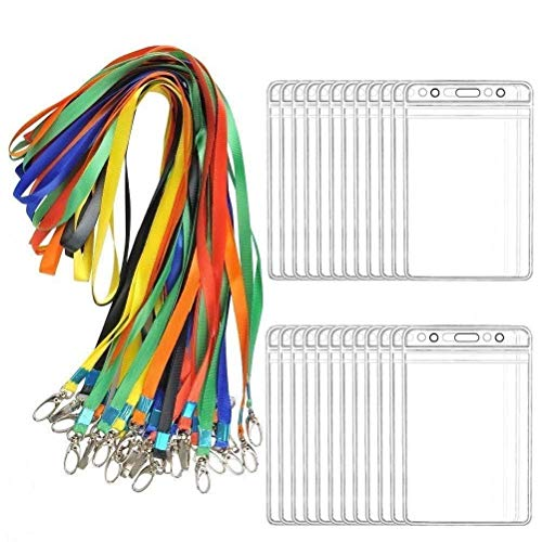 BUYGOO Porta Badge da Collo 24paia Porta Badge Verticale Trasparente Porta Badge con Cordini ID Card Holders Office Porta Badge Ufficio Badge PVC Badge Verticale con Multicolore Cordini Impermeabile