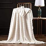 Bertte Throw Blanket Super Soft Cozy Warm Blanket 330 GSM Lightweight Luxury Fleece Blanket for Bed Couch- 50'x 60', Ivory White