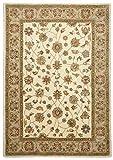 Theko Alfombra Ziegler Clásica India 100% lana virgen, beige, crema y marrón, rectangular, redondo, (70 x 270 cm)