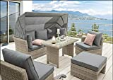 Destiny Lounge Loungegruppe Aruba Sitzgruppe Sofaset Faltdach Polyrattan